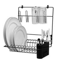 Cook Home Escorredor Dobrável c/ Porta Talheres Black Arthi -