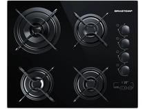 Cooktop 4 Bocas a Gás GLP Brastemp Vidro Temperado - Touch com Timer Preto Ative! BDT62