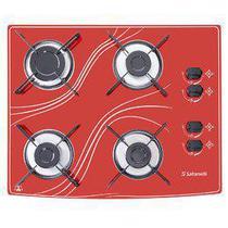 Cooktop 4 bocas  vermelho lines safanelli -