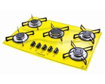 Cooktop 5 Bocas Safanelli Amarelo a Gás GLP Superautomático -