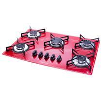 Cooktop 5 Bocas Safanelli Vermelho a Gás GLP Superautomático -