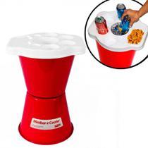 Cooler Mini Bar para Bebidas com Tampa Petisqueira em Plastico Vermelho  Goma -