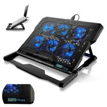 Cooler Notebook Laptop 6 Coolers LED Azul Base Suporte Gamer - Multilaser