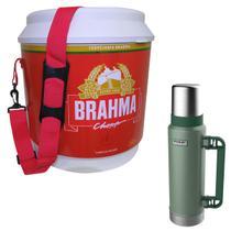 Cooler Térmico 20L Brahma Brasil 12 Latas + Garrafa Térmica Stanley 1,3L Green - Ambev