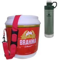 Cooler Térmico Brahma 20L 12 Latas + Garrafa Térmica Stanley 750ml Classic Verde - Ambev