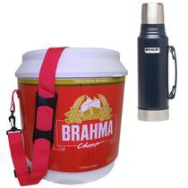 Cooler Térmico Brahma 20L 12 Latas + Garrafa Térmica Stanley Classic 1L Azul - Ambev