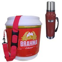 Cooler Térmico Brahma 20L 12 Latas + Garrafa Térmica Stanley Classic 1L Vermelha - Ambev