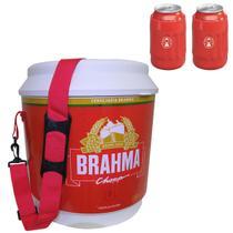 Cooler Térmico Brahma 20L com Alça + 2 Porta Latas Térmico 350ml Vermelho - Ambev