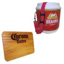 Cooler Térmico Brahma Brasil 20 Litros + Tábua de Madeira Corona Extra 24,5 x 17,5 cm - Ambev