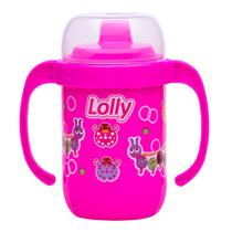 Copo Antivazamento com Alça 250ml Rosa - Lolly -
