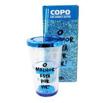 Copo canudo com glitter liquido o melhor 500ml - Zc