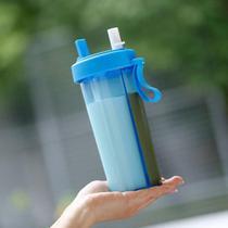 Copo de 2 canudo duplo compartimento com tampa garrafa bebida quente fria 2 em 1 Azul - Ab Midia