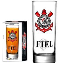 Copo de Cerveja Long Drink Corinthians FIEL Vidro 330ml - Globimport