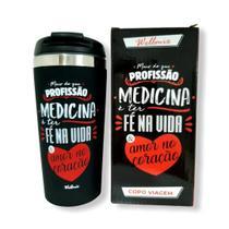 Copo Inox Térmico 450ml Profissão Medicina Preto Com Frase - Wellmix