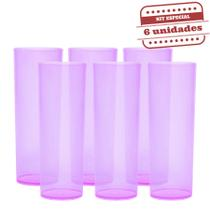 Copo Long Drink Slim Durável Rosa Neon 260ml 6 unidades Bezavel - Festabox