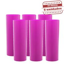 Copo long Drink Slim Durável Rosa Neon Leitoso 260ml 6 unidades Bezavel - Festabox