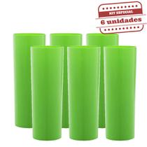Copo long Drink Slim Durável Verde Neon Leitoso 260ml 6 unidades Bezavel - Festabox