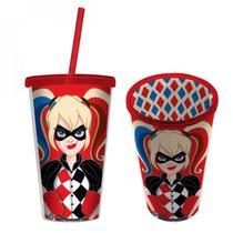 Copo Plástico com Tampa e Canudo WB Harley Quinn 500ml Arlequina Urban Vermelho -