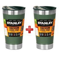 Copo térmico de cerveja verde 473ml - stanley - kit c/ 2 copos -
