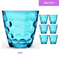 Copo Vidro 250ml (Suco, água) POP jogo com 6 Azul - Casa Linda