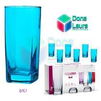 Copo Vidro 320ml (Suco água) BALI jogo com 6 Azul -