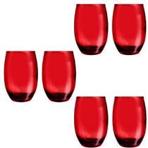 Copo Vidro 450ml (Suco, água) BELLAGIO jogo c/ 6 Vermelho - Casa Linda