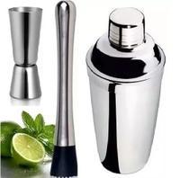 Coqueteleira Inox 750ml + Dosador De Whisky + Socador de limão inox - Click Urbano