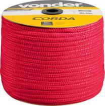 Corda Multifilamento Trançada 8mm 258m Vermelha Carretel - Vonder -