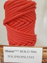 Corda Trançada Polipropileno Vermelha de 6mm - Só Cordas