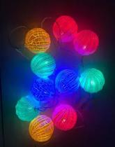 Cordão 10 Bolas Led Luminoso FIxo Craquelada Colorida Ondulada Emendável Bivolt - Sunflower