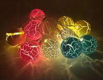 Cordão 10 Bolas Luxo Super Led Fixo Craquelada Colorido Luz Colorida Warm Emendável Bivolt - Sunflower