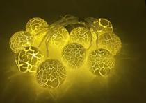 Cordão 10 Bolas Luxo Super Led FIxo Luminoso Craquelada Branco Luz Amarela Warm Emendável Bivolt - Sunflower
