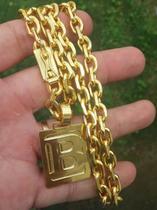 Cordão Cadeado 8mm 70cm + Pulseira 21cm + Pingente Letra Banhado a Ouro 18k - Perucci Joias