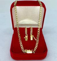 Cordão Corrente 70cm + Pulseira 20cm 3mm Banhado Ouro 18k Grumet Fecho Gaveta - Exclusivo - Michester