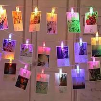 Cordão De Luz Colorido Led Pilha Varal 10 Prendedor De Fotos - Interponte