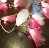 Cordão de Luz Flor Organza Tons de Rosa Pilha 50 Leds - Crie Casa