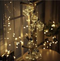 Cordão de luzes 10 lâmpadas 3m 80 leds varal fio fada Branco Bivolt - Yutaka E-Commerce