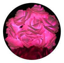 Cordão Luminoso Com 20 Lâmpadas De Led E Flores Rosa - Azy Comercial