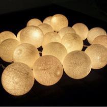 Cordão Varal Fio C/ 10 Bola Led Luz Branco Quente Pilha 2m - Icb Bazar