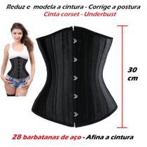 Corpete Corset Corselet Cinta Redutora Modeladora Underbust Barbatana Aço Preto - Fantasy Shopping Brasil