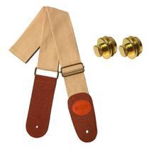 Correia violão e Guitarra Standard Bege GS-02BR + Strap Lock -