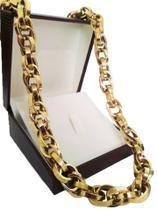 a3fc0d89746 Corrente Cordão Baguete Duplo 108 Gramas 12mm 70cm Ouro 18k 750 - 70 CM -  Ouro