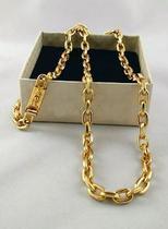 Corrente Cordão Cadeado 8mm 70cm Banhado a Ouro 18k 750 - Perucci Joias