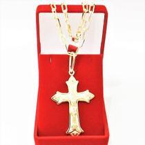 Corrente Cordão Masculino 60cm 4mm e Crucifixo tudo Folheado Ouro Semi Jóia Cod: 1811/21 - Gabriela costa semi jóias