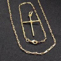 Corrente Cordão Masculino 70cm 2mm Pulseira 21cm e Crucifixo tudo Folheado Ouro - Gabriela costa semi jóias