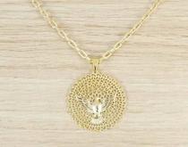 Corrente Masculina Cordão 60cm 3,5mm Espirito Santo Folheada á Ouro Cod: 1829/35 - Gabriela costa semi jóias