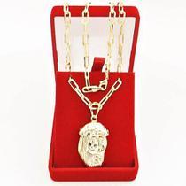 Corrente Masculina Cordão 60cm 4mm e Pingente Medalha Jesus Tudo Folheado á Ouro Cod: 1760/1811 - Gabriela costa semi jóias