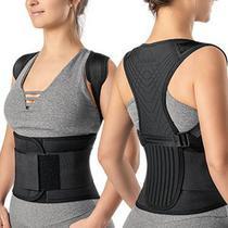 Corretor postural ergonomico - correção postura - lombar - torácica - unissex - preto - hidrolight -