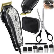 Cortador de cabelo barba profissional titanio 14w e tesoura desbaste - Philco