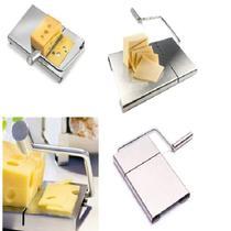 Cortador e fatiador manual multifuncional de queijos bandeja com fio frutas frios legumes em inox - Makeda
